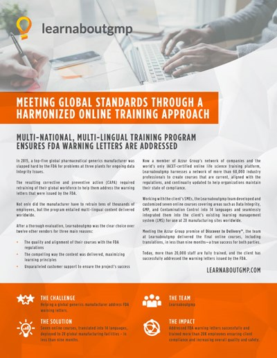 Meeting Global Standards Through a Harmonized Online Training Approach