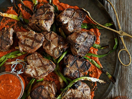 Finger Lickin' Lamb Loin Chops with Romesco Sauce & Grilled Scallions