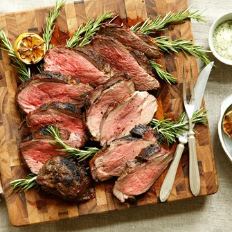 Grilled Butterflied Leg of Lamb with Rosemary Sea Salt & Charred Lemons