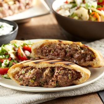 Grilled Lamb Burgers with Green Onions in Pita