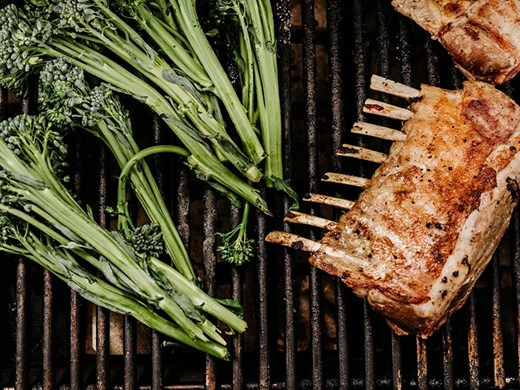 Grilled Racks of Lamb with Broccolini & Herbed Potato Salad
