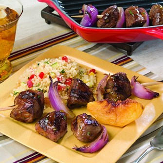 Grilled Peach & American Lamb Kabobs