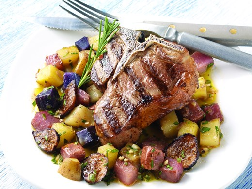 Grilled American Lamb Chops with Marinated Colorado Potatoes