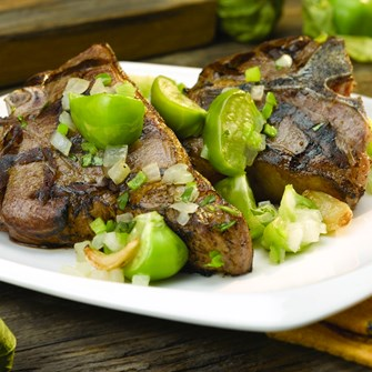 Grilled American Loin Chops with Tomatillo Chutney