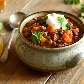 Lamb Chili with Sweet Potatoes, Black Beans & Poblanos