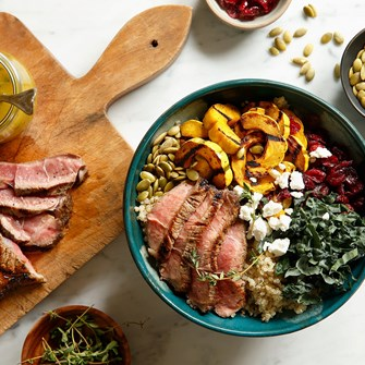 Pan-Seared Lamb Sirloin with Quinoa & Vibrant Fall Vegetables