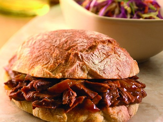 Barbecue-Pulled American Lamb Shanks on Crusty Rolls