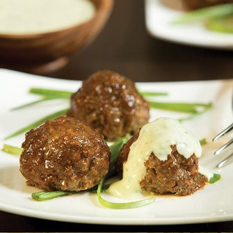 Spicy Lamb Meatballs with Herbed Yogurt Dipping Sauce