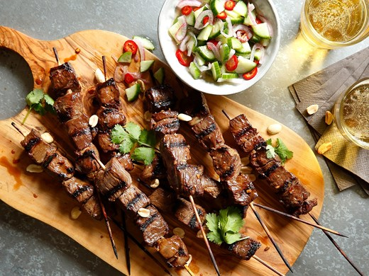 Southeast Asian Lamb Skewers with Spicy Cucumber Relish