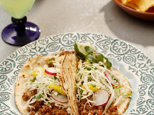 Spicy Chipotle Lamb Tacos with Cabbage, Radish & Pineapple Slaw