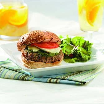 Veal Burgers with Pesto & Brie
